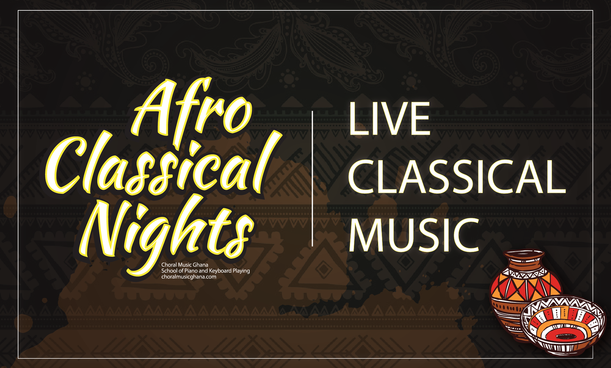 Afro Classical Nights | Live Classical Music The flagship event of Choral Music Ghana provides a platform for Ghanaian classical musicians to interact with audiences and perform their best pieces in a relaxed, fun, afropolitan lounge.